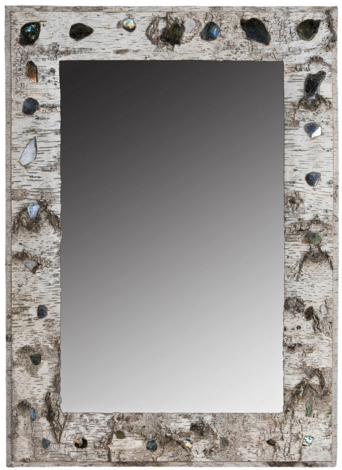 Grand Cadre Miroir Labradorite / Large Labradorite Mirror Frame   Birch  Bark Furniture France